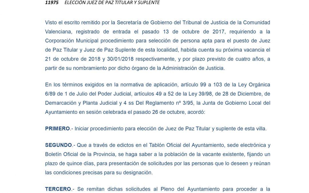 Se inicia el procedimiento para la elección de Juez de Paz titular y suplente en Albatera