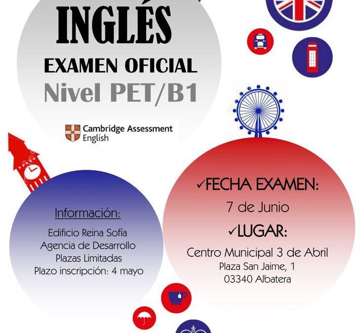 Abierto el plazo de inscripción para el examen oficial de inglés nivel PET/B1 en Albatera