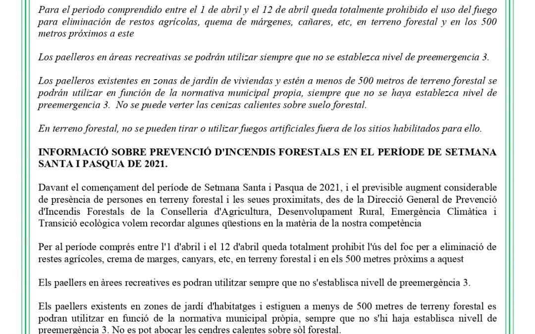 Información sobre prevención de incendios forestales en el periodo de Semana Santa y Pascua de 2021